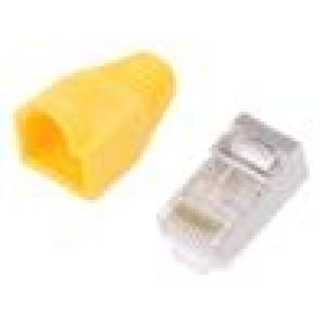 Zástrčka RJ45 PIN:8 Kat:6 stíněný, s krytkou Barva: žlutá