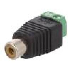 Přechod: adaptér mono RCA zásuvka, svorkovnice PIN:2