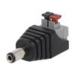 Přechod: adaptér 5,5/2,1mm 5,5mm 2,1mm pružinová svorka