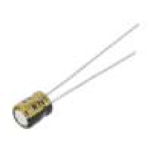 Kondenzátor elektrolytický THT 22uF 6,3VDC Ø4x5mm ±20% 28mA