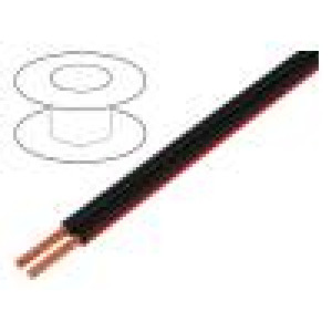 Vodič: reproduktorový 2x4mm2 licna Cu černo-červená PVC