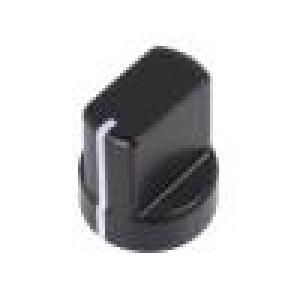 Knoflík s ukazatelem hliník Pr.hříd:4mm Ø12,2x14mm černá