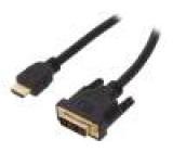 Kabel HDMI 1.4 DVI-D (18+1) vidlice, HDMI vidlice 10m černá