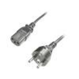 Kabel CEE 7/7 (E/F) vidlice, IEC C13 zásuvka 1,8m černá 10A