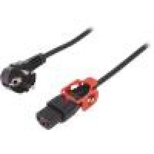 Kabel CEE 7/7 (E/F) úhlová vidlice, IEC C13 zásuvka 2m černá