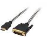 Kabel HDMI 2.0,dual link DVI-D (24+1) vidlice, HDMI vidlice