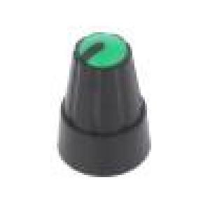 Knoflík miniaturní plast Pr.hříd:6mm Ø13x19mm černá zelená