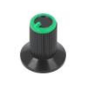 Knoflík s límcem plast Pr.hříd:6mm Ø10x19mm černá zelená