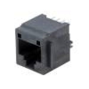 Zásuvka RJ45 PIN:8 Kat:3 zlacený Uspořádání výv:8p8c THT