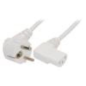 Kabel CEE 7/7 (E/F) úhlová vidlice, IEC C13 zásuvka 90° 1m