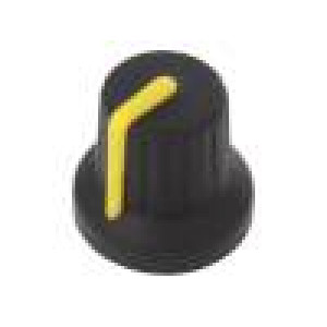 Knoflík s ukazatelem pryž,plast Pr.hříd: 6mm Ø16x15,1mm černá