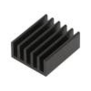 Chladič: lisovaný žebrovaný černá L: 25mm W: 21mm H: 10mm hliník