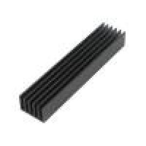 Chladič: lisovaný žebrovaný černá L: 100mm W: 21mm H: 14mm