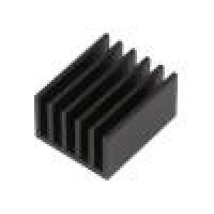 Chladič: lisovaný žebrovaný černá L: 25mm W: 21mm H: 14mm hliník