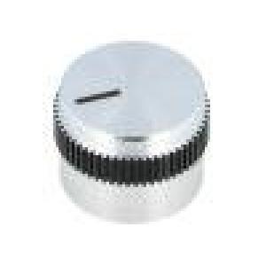 Knoflík s ukazatelem hliník pro hřídel 6mm Ø20x15mm šedo-černá