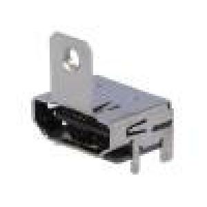Konektor HDMI zásuvka s držákem 19 PIN povrch zlacený SMT