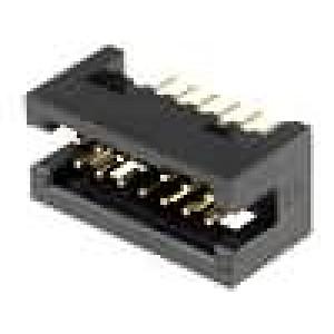 Zásuvka IDC vidlice 14PIN přímý 1,27mm THT gold flash
