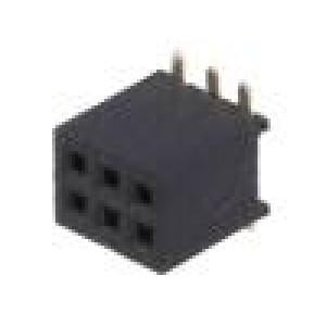 Zásuvka kolíkové zásuvka PIN:6 přímý 1,27mm SMT 2x3 1A 30mΩ