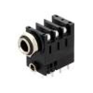 Zásuvka Jack 6,35 mm zásuvka stereo úhlové 90° do panelu THT