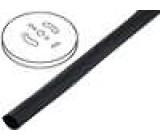 Teplem smrštitelná trubička 3:1 6mm černá polylefin délka 75m