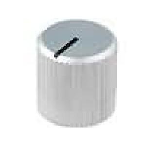 Knoflík s ukazatelem hliník pro hřídel 6mm Ø12x12mm stříbrná