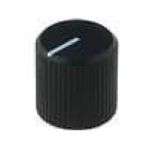 Knoflík s ukazatelem hliník pro hřídel 6mm Ø12x12mm černá