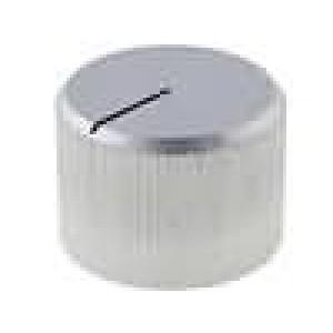 Knoflík s ukazatelem hliník pro hřídel 6mm Ø20x14mm stříbrná