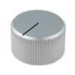 Knoflík s ukazatelem hliník pro hřídel 6mm Ø28x16mm stříbrná