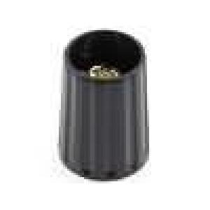 Knoflík polyamid pro hřídel 4mm Ø10x13,7mm černá hladký