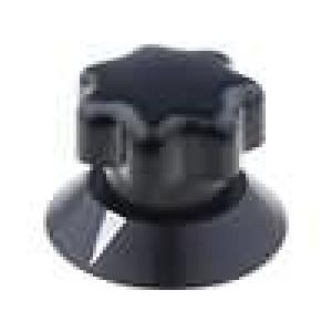 Knoflík s ukazatelem ABS pro hřídel 6mm Ø25x22mm černá