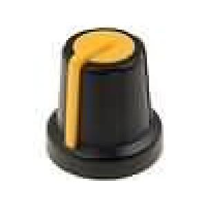 Knoflík miniaturní ABS pro hřídel 6mm Ø16x16mm černá
