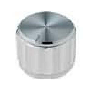 Knoflík s ukazatelem hliník pro hřídel 6,35mm Ø20x15mm stříbrná