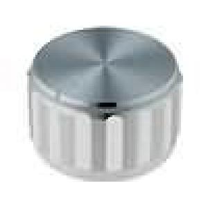 Knoflík s ukazatelem hliník pro hřídel 6,35mm Ø25x15mm stříbrná