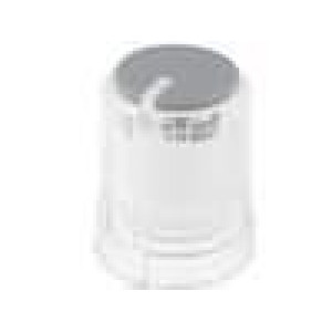 Knoflík miniaturní s ukazatelem plast pro hřídel 6mm průhledná