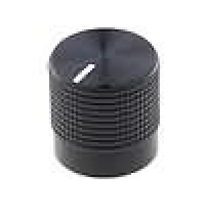 Knoflík s ukazatelem pro hřídel 6mm Ø15mm černá rýhovaný