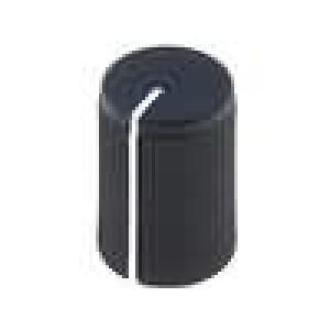 Knoflík s ukazatelem hliník, plast pro hřídel 6mm Ø10x15mm černá