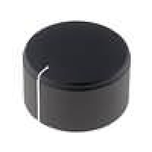 Knoflík s ukazatelem hliník, plast pro hřídel 6mm Ø25x15mm černá