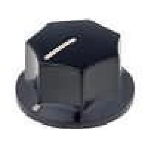 Knoflík s ukazatelem bakelit pro hřídel 6mm Ø27,2x17,5mm černá