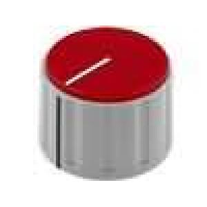 Knoflík s ukazatelem ABS pro hřídel 6mm Ø28,5x19,5mm šedá