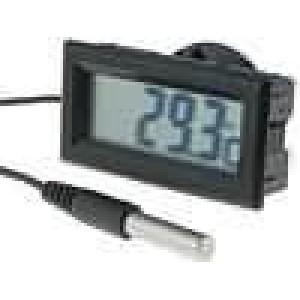 Panelové měřidlo LCD digit 13 mm -50-.70°C Dél.sondy:20mm