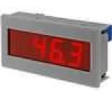 Panelové měřidlo LED 3,5místný 14 mm V DC:0-200mV 35x72x15mm