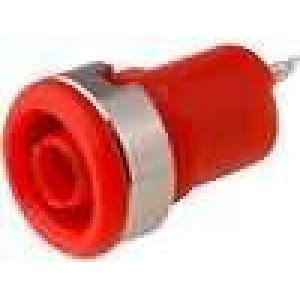 Zásuvka banánek 4mm 10A 60VDC průměr Ø12,2mm červená