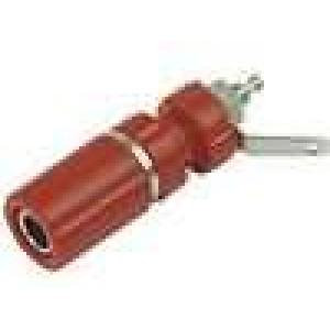 Zásuvka banánek 4mm 24A 60VDC červená do panelu 33mm