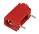 Zásuvka banánek 4mm 24A 60VDC červená do PCB 24mm
