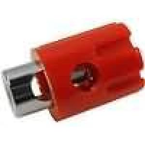 Zásuvka banánek 4mm 15A 30VDC červená Kontakty mosaz 20,5mm