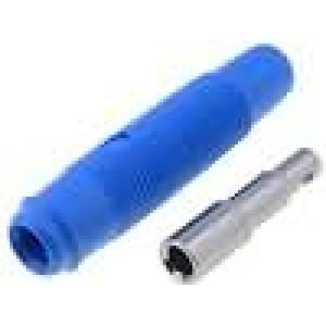 Zásuvka banánek 4mm 16A 60VDC modrá Montáž na kabel 3mΩ
