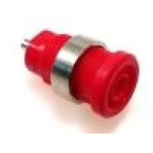 Zásuvka banánek 4mm 25A průměr Ø12mm červená niklovaný povrch