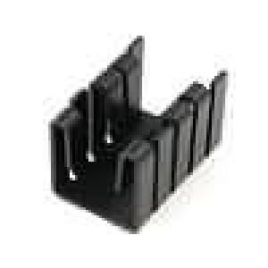 Chladič lisovaný TO220 černá L:19mm W:12,8mm H:12,7mm hliník