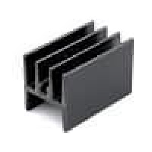 Chladič lisovaný H TO220 černá L:25mm W:15mm H:17mm