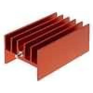 Chladič lisovaný H TO220 červená L:40mm W:23mm H:16mm hliník